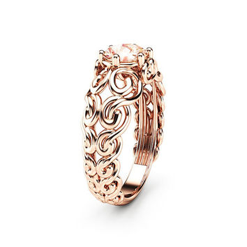 Sapphire Engagement Ring 14K Rose Gold Ring Peach Sapphire Ring Filigree Promise Ring