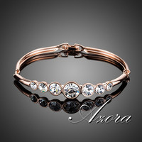AZORA Fashion Jewelry 18K Rose Gold Plated 7pcs Round Stellux Austrian Crystal Bangle Bracelet