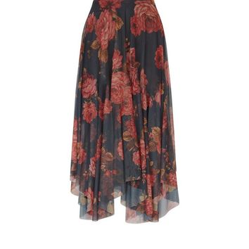 Black Floral Print Mesh Hanky Hem Midi Skirt | New Look