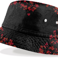 red Hearts Bucket HAt created by Christy Leigh | Print All Over Me