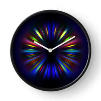'Colourful starburst pattern' Clock by steveball