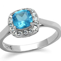 Juliet - Aqua color cushion cut stone surrounded by cubic zirconia stones set in stainless steel