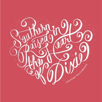 Southern Couture Southern Raised in the Heart of Dixie Paprika Girlie Bright Tank Top Shirt