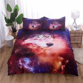 Cool Galaxy Wolf Duvet Cover Set Single Double Queen King 2/3pcs Bedclothes Bed Linen Bedding Sets(No Sheet No Filling)AT_93_12