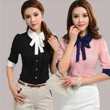 Casual Korean Slim Short-sleeve Work Wear Office Blouse [9305620103]