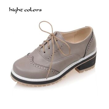 Fashion Women Oxfords Fashion Lace-up Round Toe Flats Shoes Woman Creppers Plus Size 34-43 Oxford Shoes For Women Black HC803
