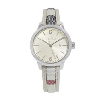 Burberry White Check Silver Strap Ladies Watch