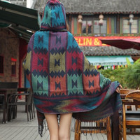Fringe Boho Cape, Aztec Hooded Poncho - Navy