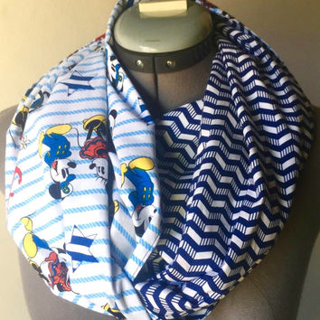 Disney Mickey and Minnie Mouse Sailor Infinity Scarf, Circle Scarf, Navy, Nautical, Gift, Present, Hipster, Chevron