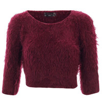 FLUFFY KNIT CROP JUMPER WINE