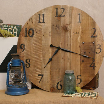 Large Clock - Reclaimed Wood - Round