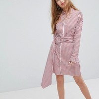 Plain Studios Shirt Dress With Metal Ring Belt Wrap In Stripe at asos.com
