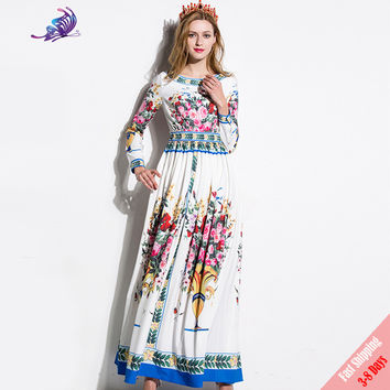 High Quality New 2017 Fashion Runway Maxi Dress Women's Charming Flower Floral Print Boho Beach Casual Dresses Free Fast Express