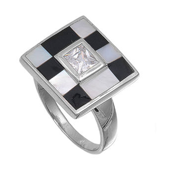 925 Sterling Silver CZ Checkered Style Princess Cut Center Ring 12MM