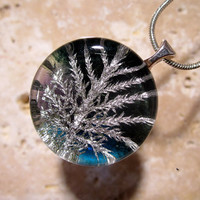 Stair Step Moss (Hylocomium splendens) aka Mountain Fern Moss Necklace, woodland, nature, forest, blue