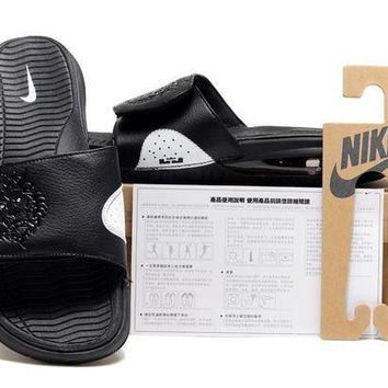 PEAPGE2 Beauty Ticks Nike Air Lebron Slide Black Casual Sandals Slipper Shoes Size Us 7-11