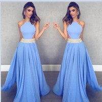 Blue chiffon sexy hollow out long beaded prom dresses from prom dress