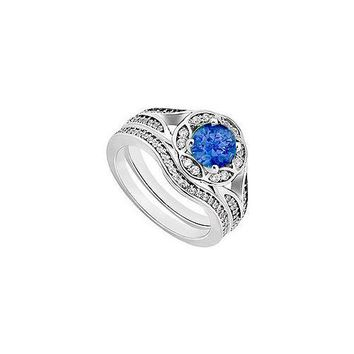 Sapphire & Diamond Engagement Ring with Wedding Band Sets 14K White Gold  0.90 CT TGW
