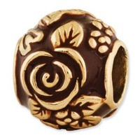 Reflection Beads Sterling Silver Gold-Plated Enameled Floral Bead (12 x 10 mm)