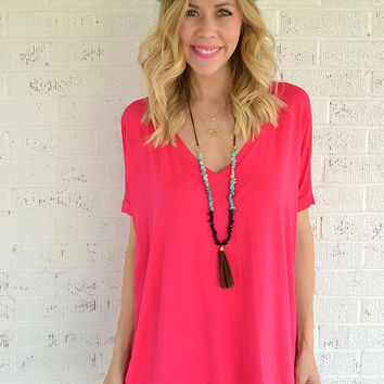 V Neck Piko Top - Rose Petal Pink