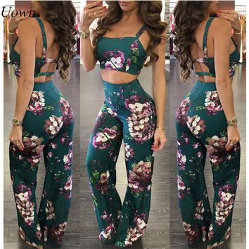 DCCKLG2 Stappy Crop Top and Wide Leg Flared Pants Set