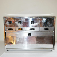 Vintage Chrome Canister Box Breadbox & Canisters Combo Mid Century Modern Kitchen 1950's Retro Kitchen Chrome Canisters