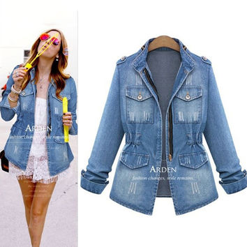 Fall Fashion Long Sleeve Zippers Slim Denim Jacket [9068280964]