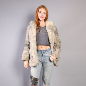 70s SHEARLING FUR COAT / Ultra Warm Shaggy Gray Teddy Bear Jacket