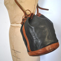 Coach Bucket Bag Drawstring / Honey Brown and Black Leather Purse / RARE