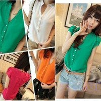 Women Imitated Silk Fabric Short Sleeve T-Shirt Solid Color Blouse Tops Shirt