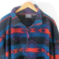 vintage fleece jacket. southwestern print coat. tribal fleece. size XL