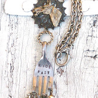 Antique Silver Horse Necklace Hand Stamped HORSE NECKLACE antique Fork horse Jewelry