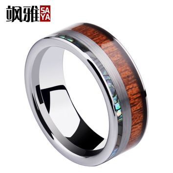 Tungsten Carbide Band Rings Koa Wood and Shells Inlay for Wedding Size 7-11