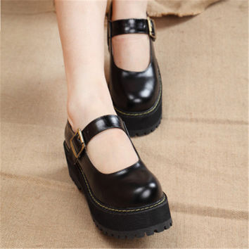 Fashion New 2017 Women Creepers Pu Women Flats Platform Mary Jane Ankle Strap Casual Ladies Loafers Shoes dropshipping