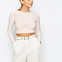 Boohoo Open Back Long Sleeve Crop Top