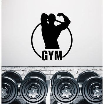 Vinyl Wall Decal Gym Fitness Logo Word Muscular Body Stickers (3706ig)