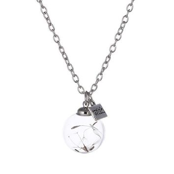 Crystal Ball Dandelion Seed Wishing Wish Necklace Long Silver Chain