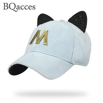BQacces new fashion solid color 100% cotton strapback baseball cap with ear and metal letter M women summer sun hat truck cap