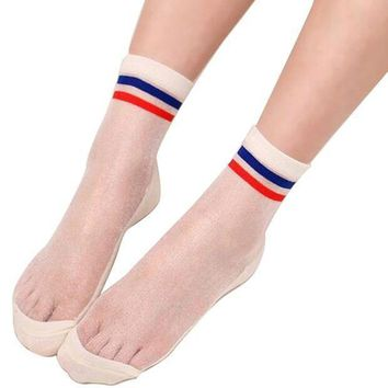 Loverey 1pair Womens Blue And Red Stripe Ultrathin Transparent Crystal Silk Elastic Socks One Size