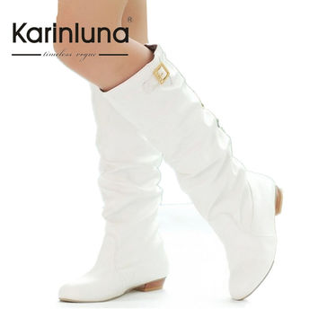 Plus Size Fashion Women Knee Boots Vintage Chunky Heels SLip On Spring Autumn Shoes Round Toe Less Platform Motorcycle Boots