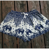 Elephant Shorts Printed Comfy Beach For Summer Dark Blue Hippie Hipster Exotic Boho Clothing Aztec Ethnic Bohemian Ikat Boxers Pants Cute