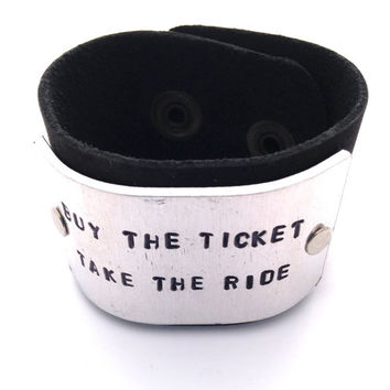 Buy TheTicket Take The Ride Hunter S Thompson Hand Stamped Leather Cuff Bracelet