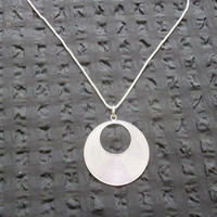 Sterling Silver Solid Grooved Circle Pendant Necklace