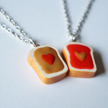 Peanut Butter & Jelly Best Friends Necklaces - Miniature Food Jewelry