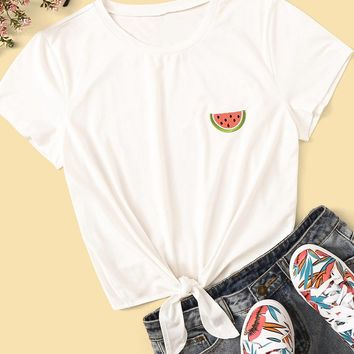 Watermelon Days Knotted Tee