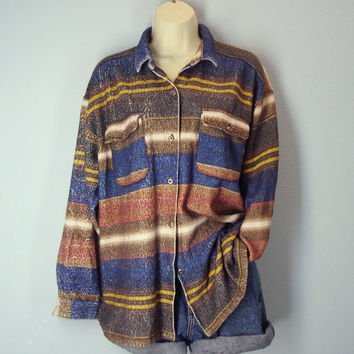 Vintage Southwestern Jacket Blouse, Slouchy Fleece Top, Striped Blouse Shirt, Southwest Shirt Top