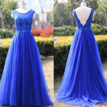 Royal Bule Prom Dress,Long Cap Sleeve Formal Evening Dress,Handmade Appliqued Tulle A-Line Royal Blue Women Dress,Wedding Party Gowns