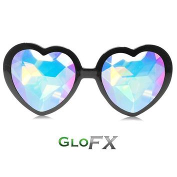 Heart Shaped Kaleidoscope Glasses - Black