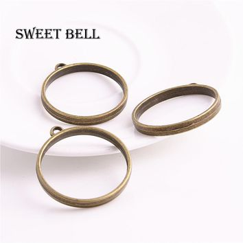 Sweet Bell 15pcs 33*37mm Antique bronze Alloy Hollow round charm glue blank pendant tray bezel charms DIY Handmade D6185