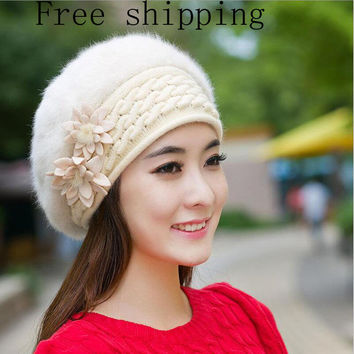 New Design  Warm And Cute Princess Rabbit Hat Female Winter Knitted Beret Hat With Flower Women's Rabbit Fur Berets